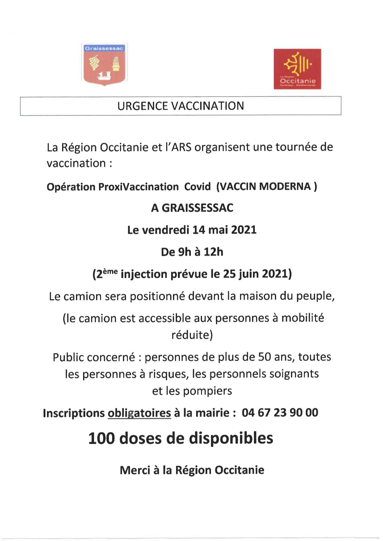 Opération de vaccination dès 18 ans le 14 mai à Graissessac