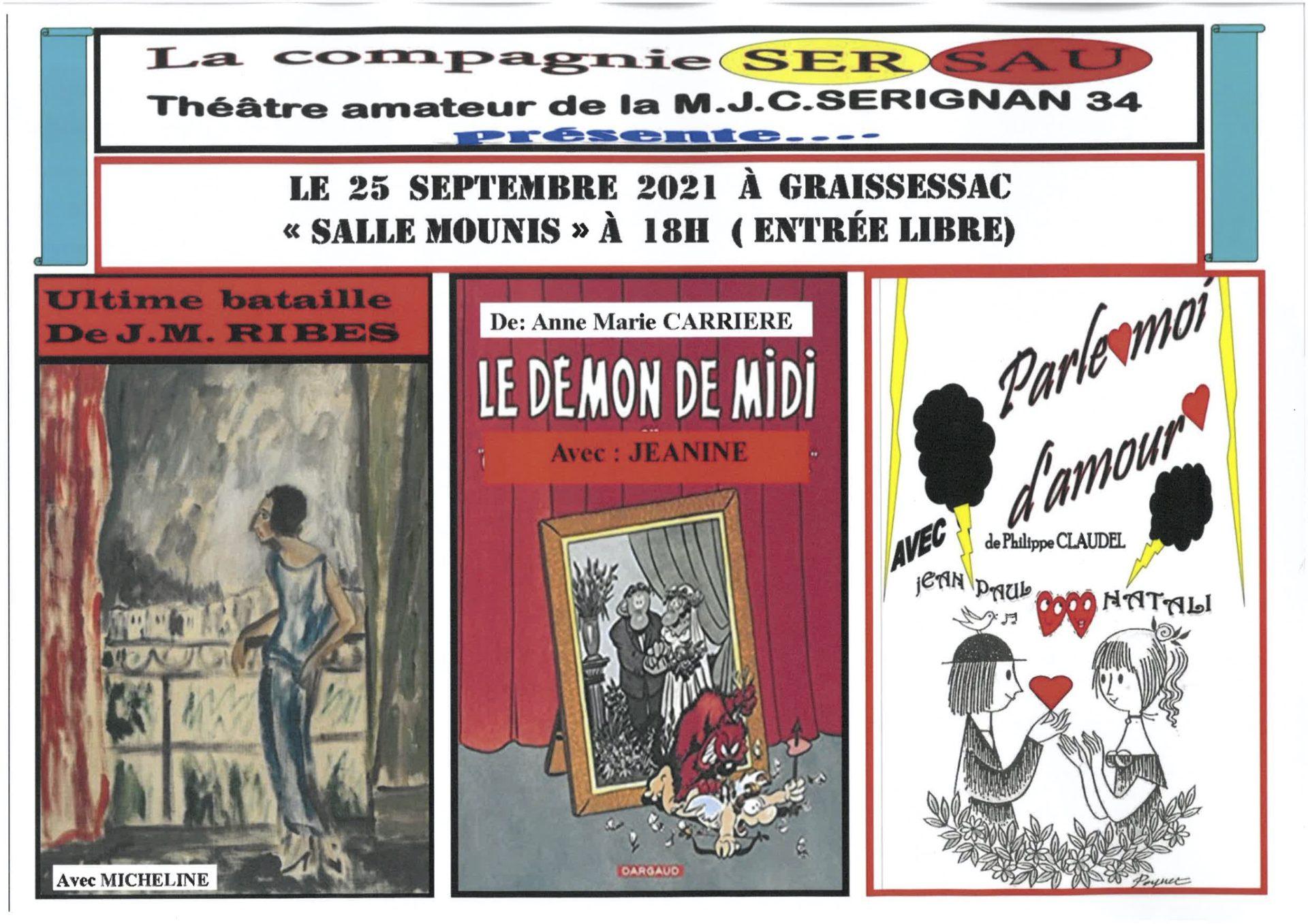 Théâtre amateur 25 septembre 17h Café Mounis